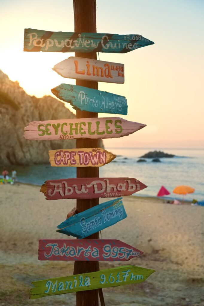 Direction signpost with distance to many different cities